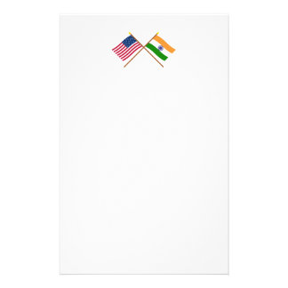 US and India Crossed Flags Custom Stationery