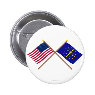 US and Indiana Crossed Flags Pinback Buttons
