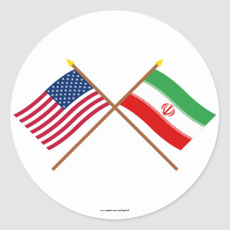 US and Iran Crossed Flags Classic Round Sticker