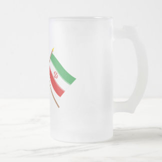 US and Iran Crossed Flags Frosted Glass Beer Mug