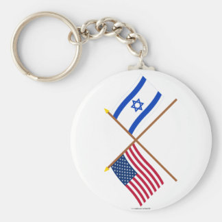 US and Israel Crossed Flags Key Ring