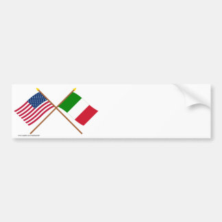 US and Italy Crossed Flags Bumper Sticker