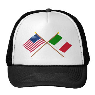 US and Italy Crossed Flags Cap