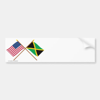 US and Jamaica Crossed Flags Bumper Sticker