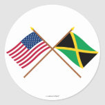 US and Jamaica Crossed Flags Round Sticker