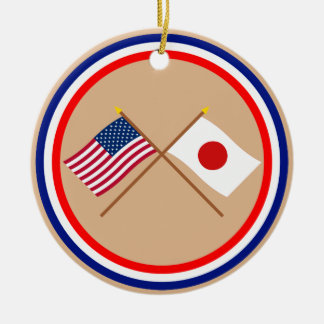 US and Japan Crossed Flags Christmas Tree Ornament