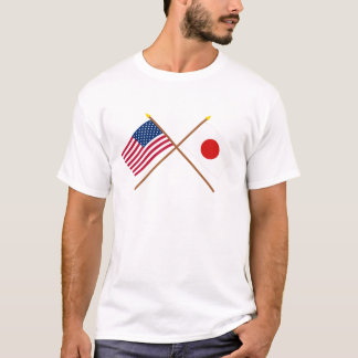 US and Japan Crossed Flags T-Shirt