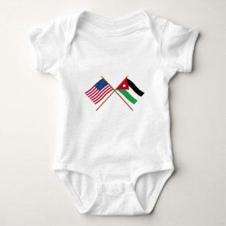 US and Jordan Crossed Flags Baby Bodysuit