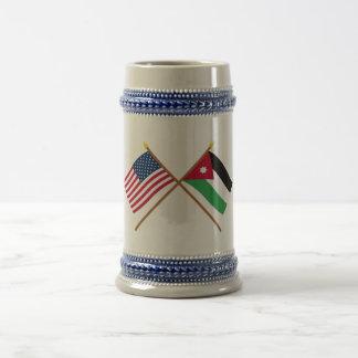 US and Jordan Crossed Flags Beer Stein