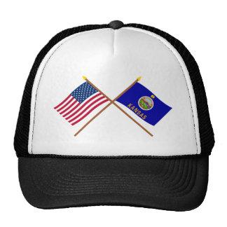 US and Kansas Crossed Flags Cap