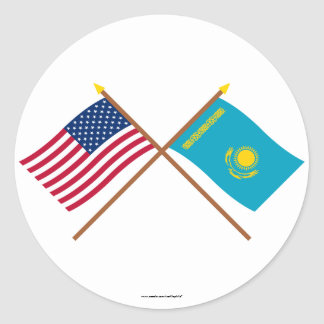US and Kazakhstan Crossed Flags Classic Round Sticker