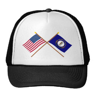 US and Kentucky Crossed Flags Cap