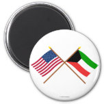 US and Kuwait Crossed Flags 6 Cm Round Magnet