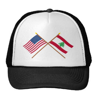 US and Lebanon Crossed Flags Cap