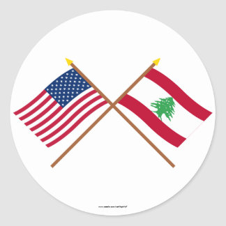 US and Lebanon Crossed Flags Classic Round Sticker