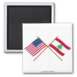 US and Lebanon Crossed Flags Magnet