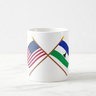 US and Lesotho Crossed Flags Coffee Mug