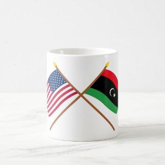 US and Libya Crossed Flags Basic White Mug