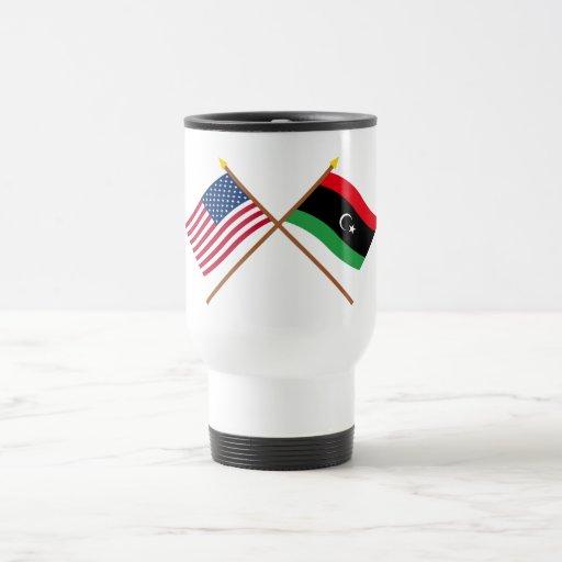 US and Libya Crossed Flags Mug