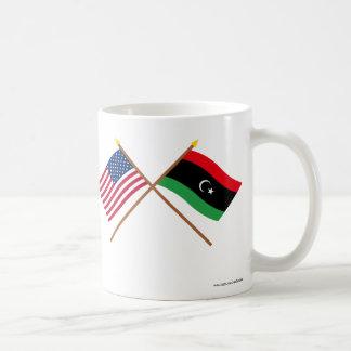 US and Libya Crossed Flags Coffee Mug