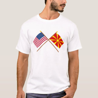 US and Macedonia Crossed Flags T-Shirt