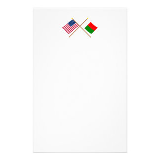 US and Madagascar Crossed Flags Stationery