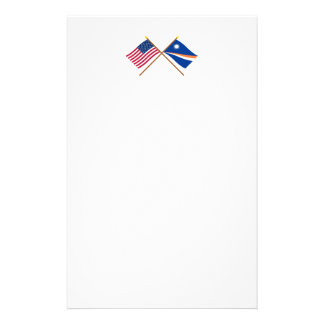 US and Marshall Islands Crossed Flags Personalized Stationery