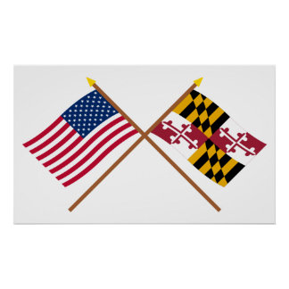 US and Maryland Crossed Flags Poster