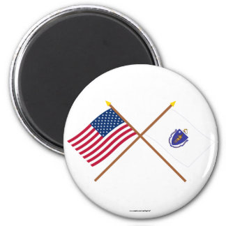 US and Massachusetts Crossed Flags 6 Cm Round Magnet