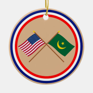 US and Mauritania Crossed Flags Christmas Ornament