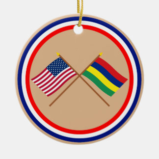 US and Mauritius Crossed Flags Christmas Ornament