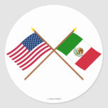 US and Mexico Crossed Flags