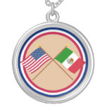 US and Mexico Crossed Flags Round Pendant Necklace