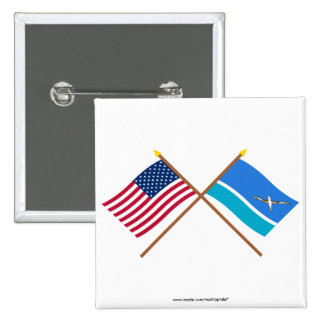 US and Midway Islands Crossed Flags 15 Cm Square Badge