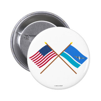 US and Midway Islands Crossed Flags 6 Cm Round Badge