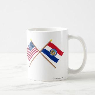 US and Missouri Crossed Flags Basic White Mug