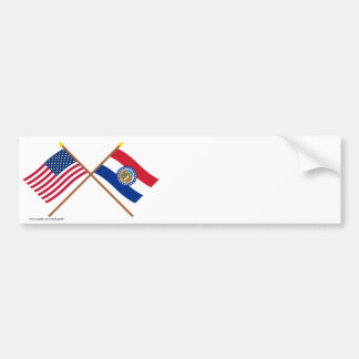 US and Missouri Crossed Flags Bumper Sticker
