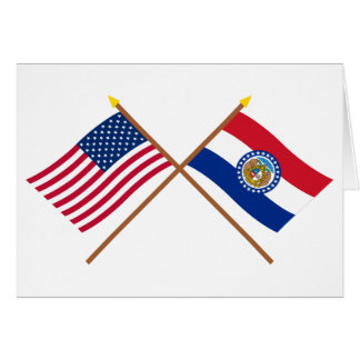 US and Missouri Crossed Flags Greeting Card