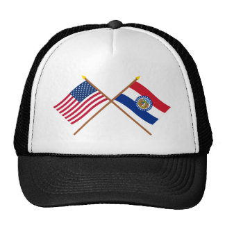 US and Missouri Crossed Flags Mesh Hats