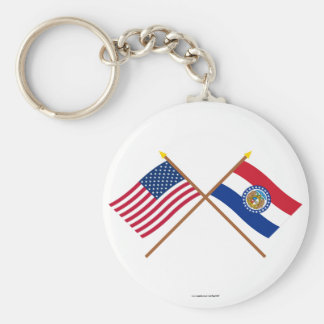US and Missouri Crossed Flags Keychain