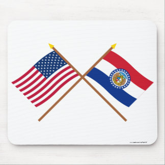 US and Missouri Crossed Flags Mousepads