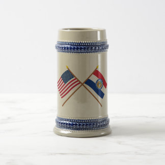 US and Missouri Crossed Flags 18 Oz Beer Stein