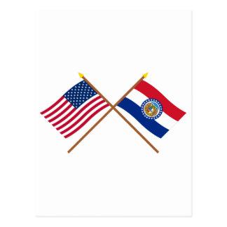US and Missouri Crossed Flags Postcard