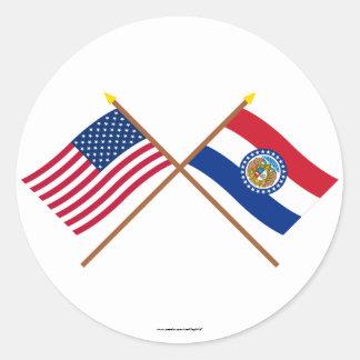 US and Missouri Crossed Flags Round Sticker