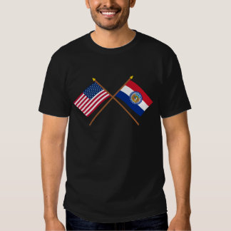 US and Missouri Crossed Flags T-shirt