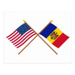 US and Moldova Crossed Flags Postcard