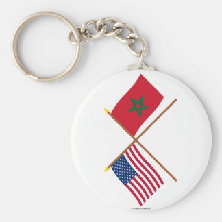 US and Morocco Crossed Flags Keychains