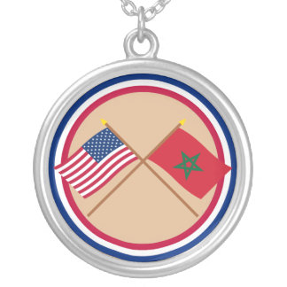 US and Morocco Crossed Flags Pendant