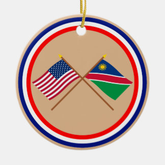 US and Namibia Crossed Flags Christmas Ornament