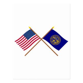 US and Nebraska Crossed Flags Postcard
